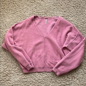 Free People Cropped Slouchy Sweater